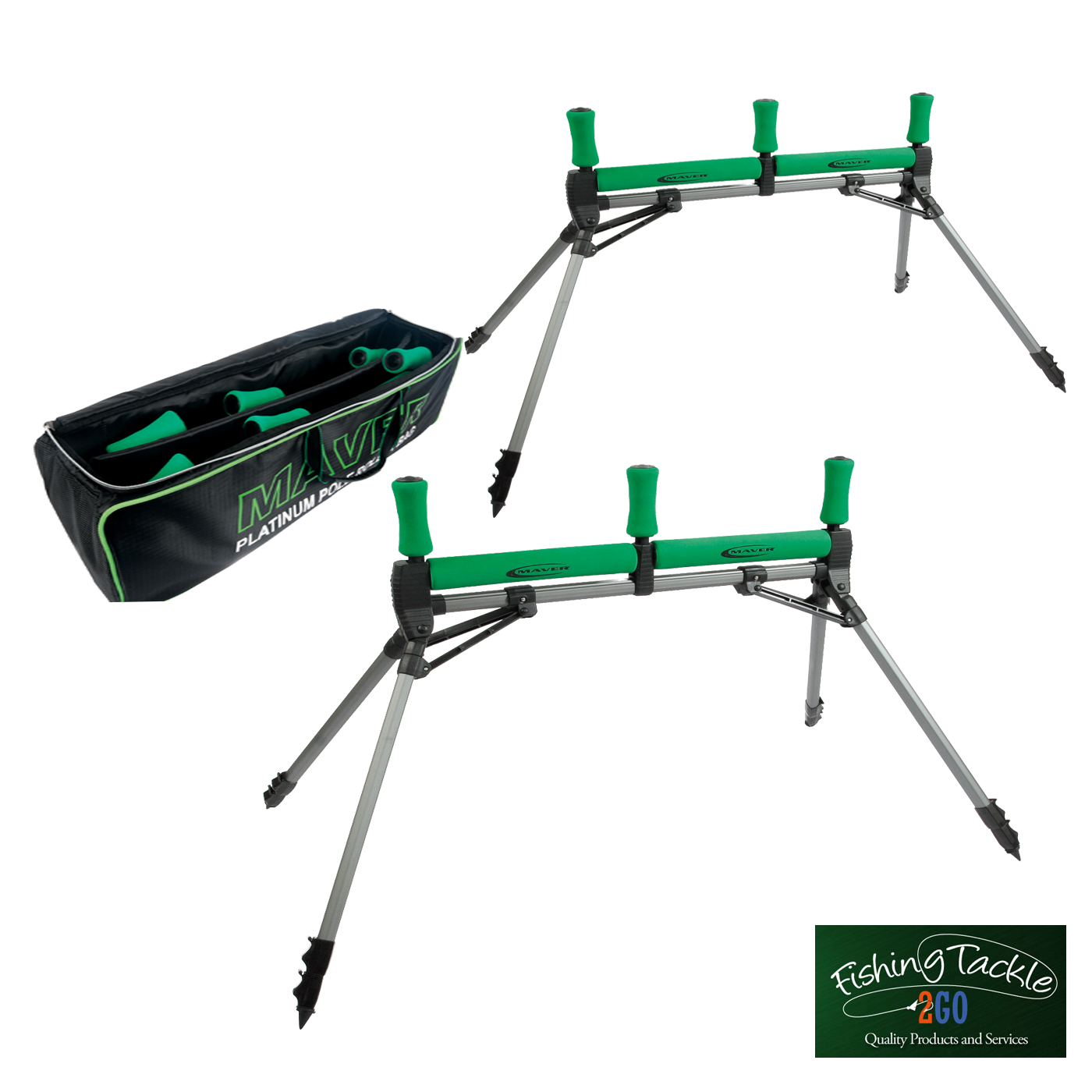 Maver Competition Flat Bed Pole Rollers x 2 (Pair) with FREE Pole Roller Bag