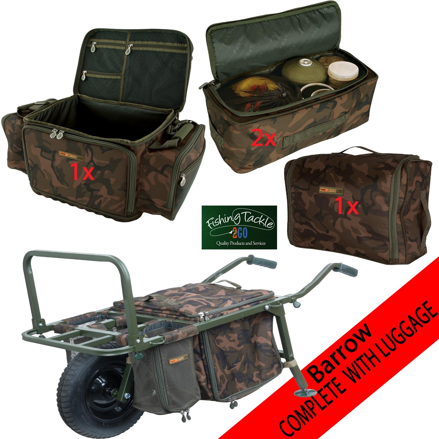 Fox Explorer Barrow Carp Inc Strap Complete with Camolite Luggage Set